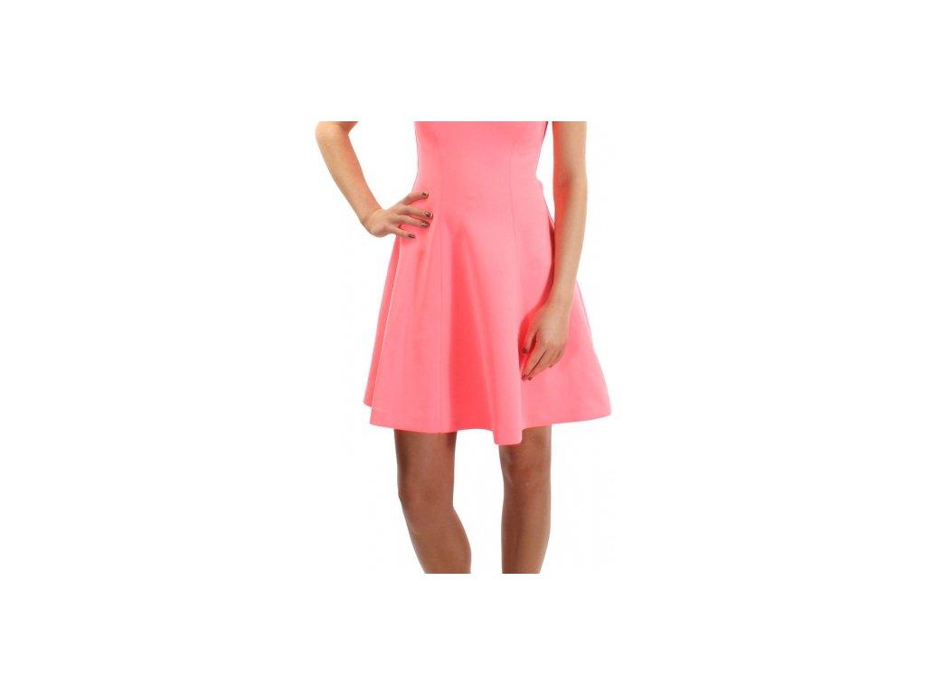 Šaty Guess Off-the-Shoulder Scuba Knit Dress růžové