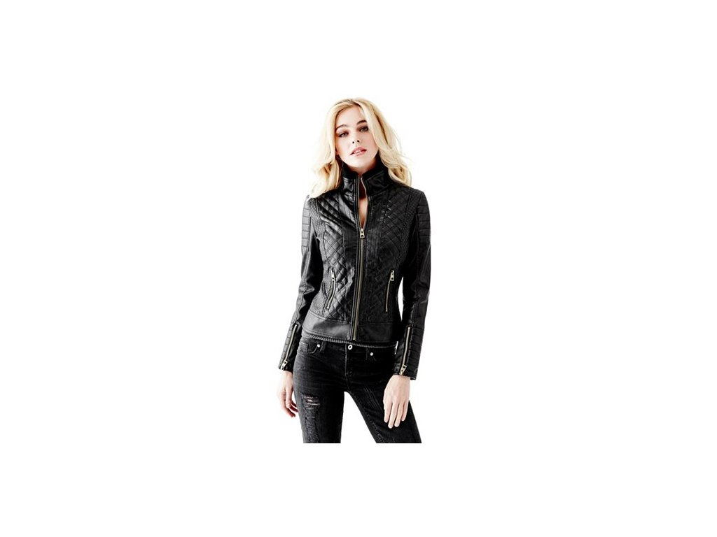 Bunda Guess Quilted Faux-Leather Jacket jet black