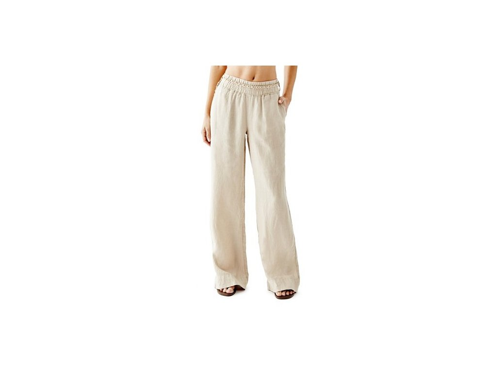 Kalhoty Guess Wide-Leg Linen Pants béžové