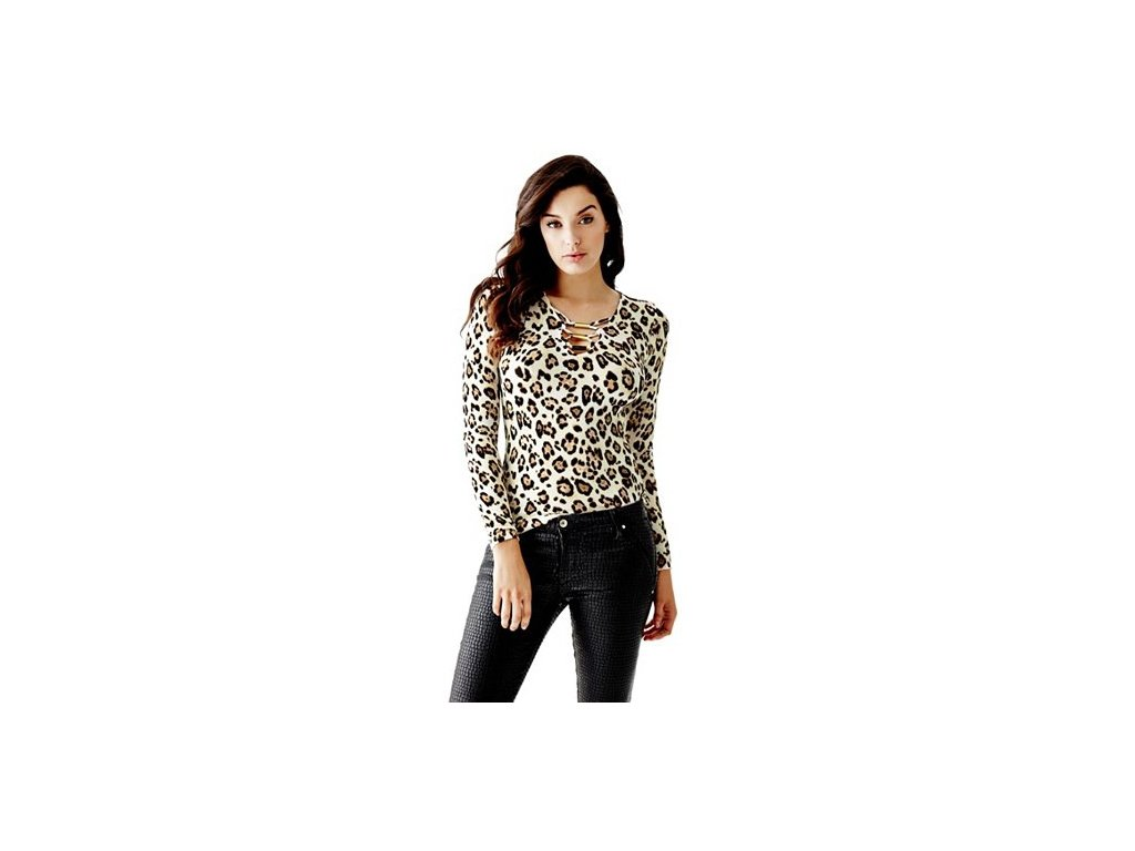 Triko Guess Lace-Up Top leopard