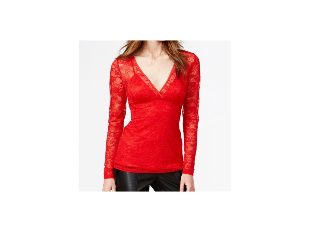 Halenka Guess Lace Surplice Top červená