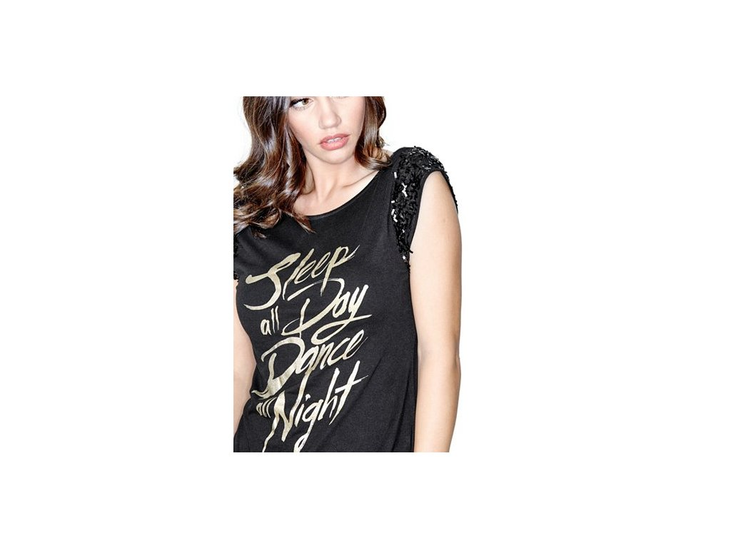 4d04b51a42e Tričko Guess Dance All Night Sequin Tee - G-Butik.cz