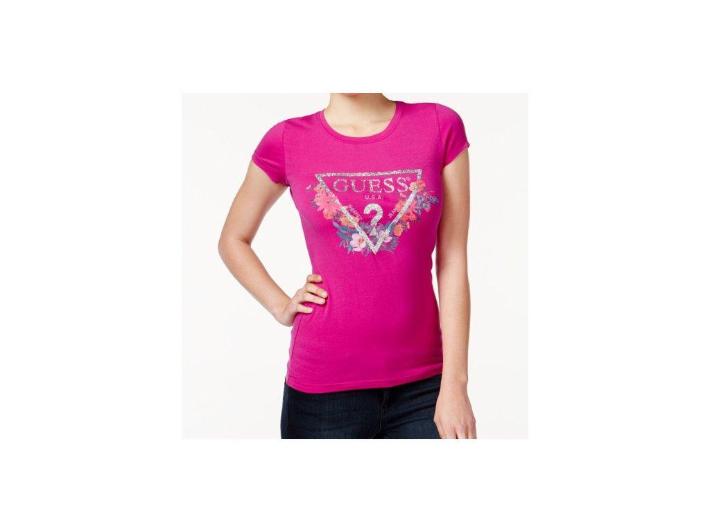 Tričko Guess Floral & Glitter Logo Tee