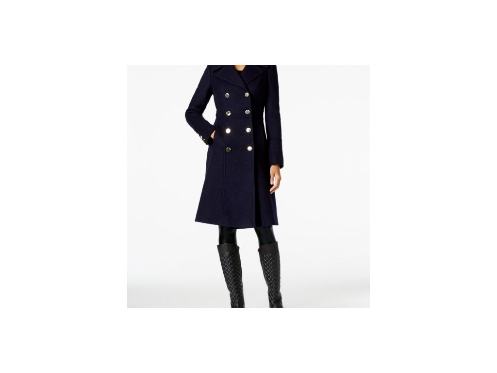 Kabát Guess Double-Breasted A-Line Peacoat modrý