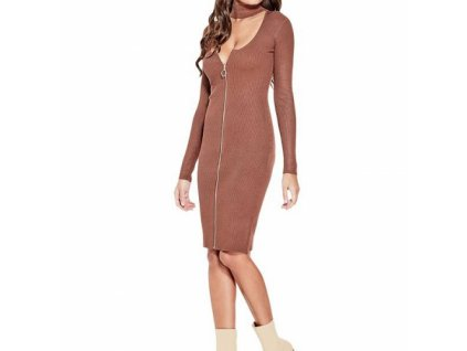 Šaty G by Guess Hannah Choker Sweater Dress skořicové