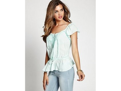 Halenka Guess Flutter-Sleeve Pintuck Top