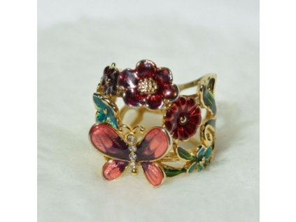 Prsten Guess Multicolor Flower and Butterfly Ring