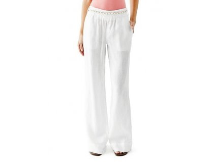 Kalhoty Guess Wide-Leg Linen Pants bílé