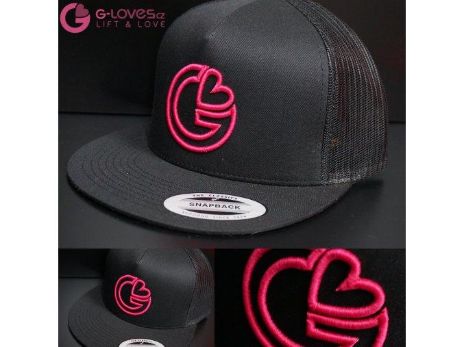 Snapback Trucker G-loves - Černo-růžová