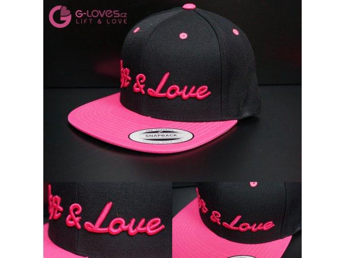 Snapback Classic Lift & Love - Černo-růžová