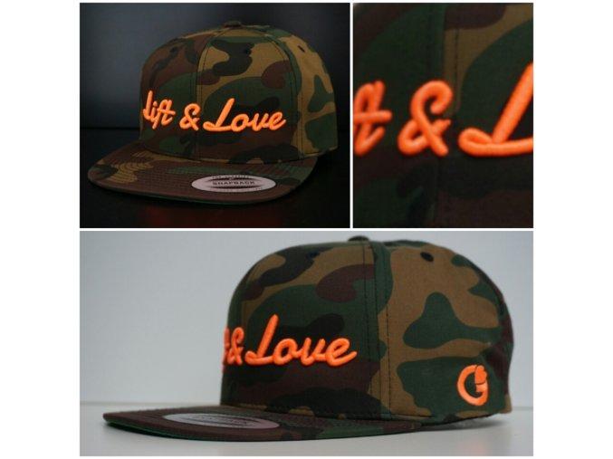 Snapback Exclusive Lift & Love - GreenCamo - oranžová