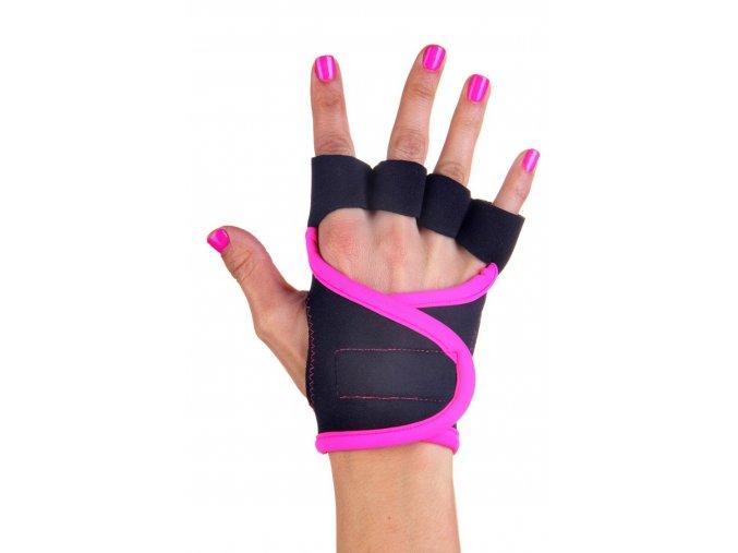 Dámské fitness rukavice - Classic - černé s růžovým lemováním