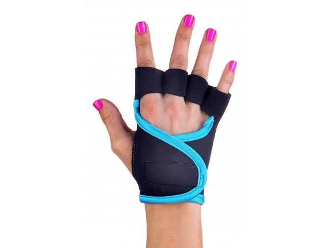 Dámské fitness rukavice - Classic - černé s tyrkysovým lemováním