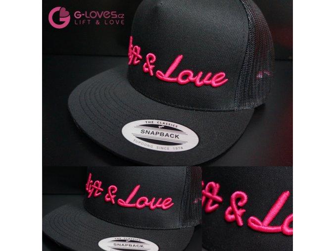 Snapback Trucker Lift & Love - Černo-růžová