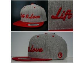 Snapback Classic Lift & Love - Šedo-červená