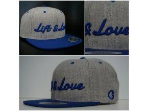 Snapback Classic Lift & Love - Šedo-modrá