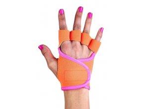 Dámské fitness rukavice - Neon - Oranžové s růžovým lemováním