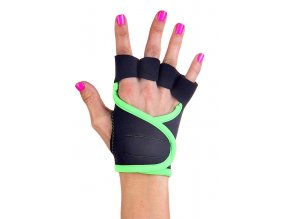 Dámské fitness rukavice - Classic - černé se zeleným lemováním