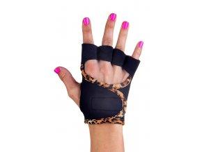 Dámské fitness rukavice - Classic - černé s leopardím lemováním