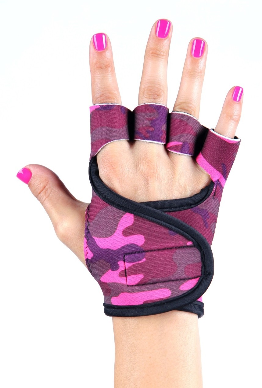 Dámské fitness rukavice - Pink Camouflage Velikost: S