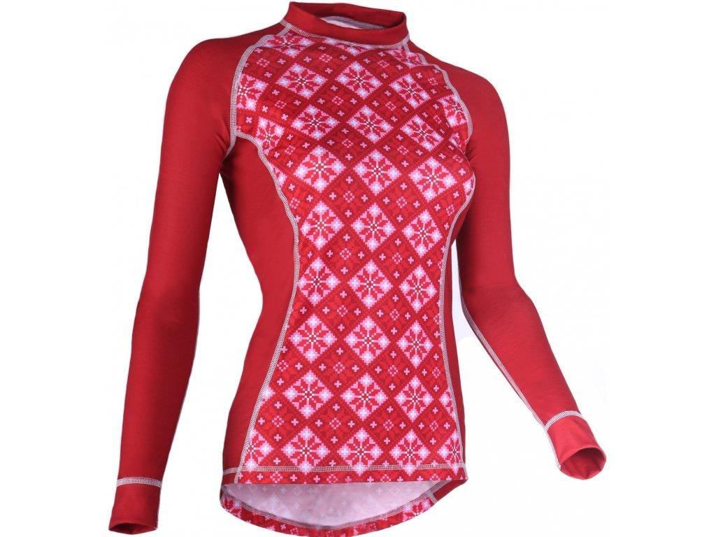 Dámske tričko PCE LONG W 07 (Barva Červená, Velikost L)