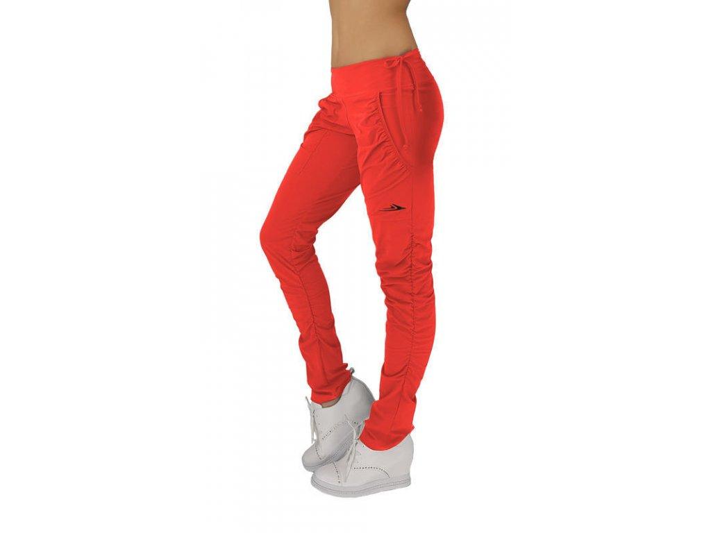 Dámské funkční elastické sportovní kalhoty červené EK923 (Barva Červená, Velikost M)