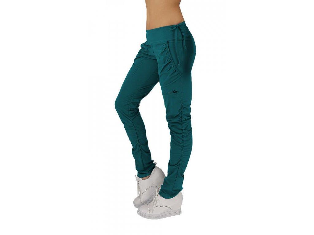 Dámské funkční elastické sportovní kalhoty lahvově zelené EK923 (Barva Zelená, Velikost L)