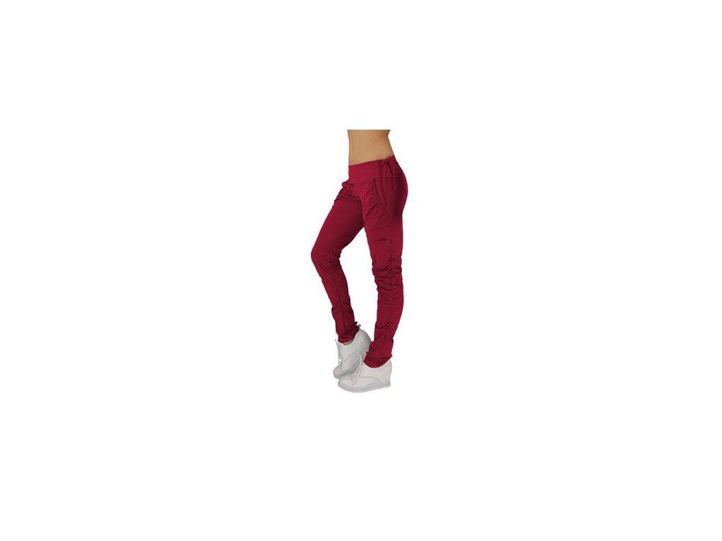 Dámské funkční elastické sportovní kalhoty vínové EK923 (Barva Vínová, Velikost L)