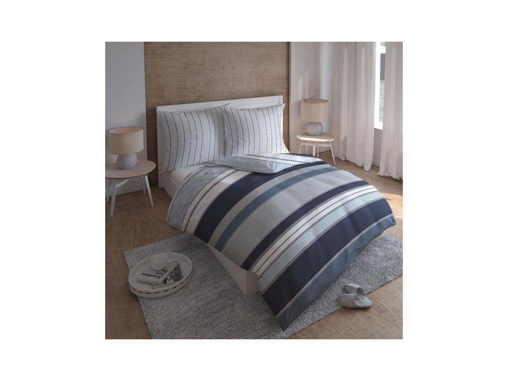 Modré pásikavé obliečky z bavlneného saténu Delicate
