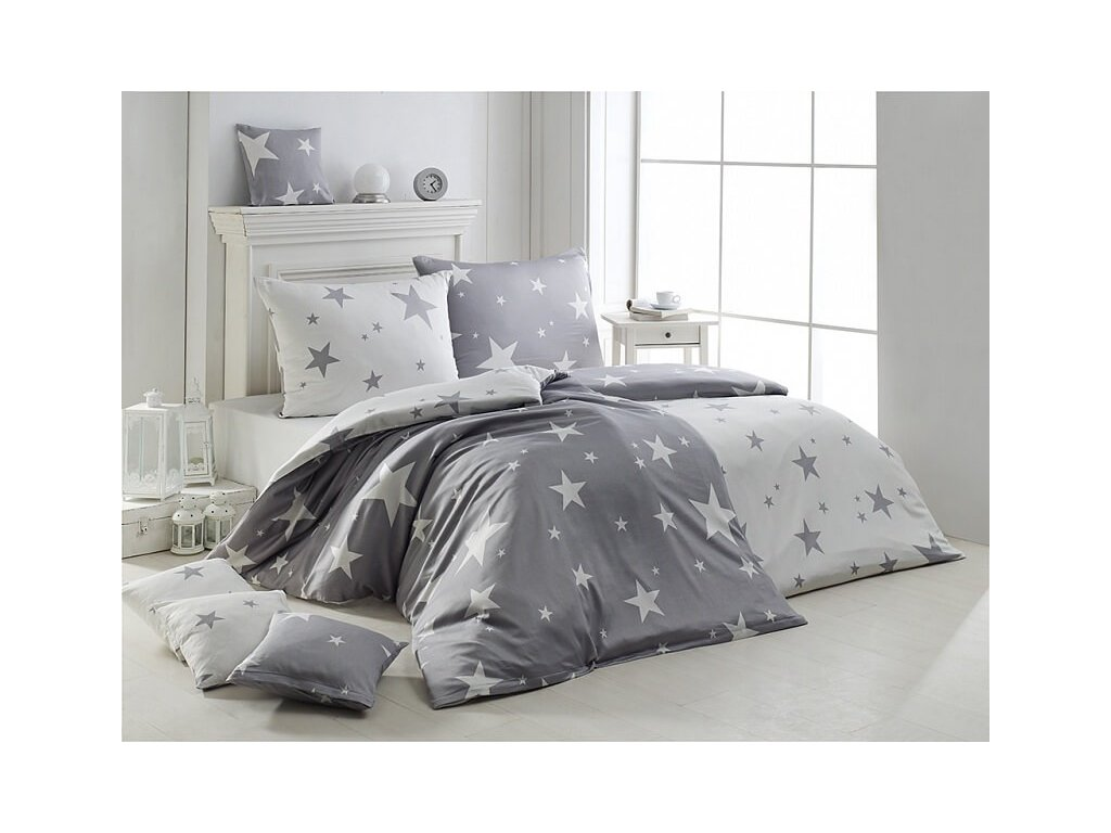 Hviezdičkové flanelové obliečky Matějovský - New Star Grey