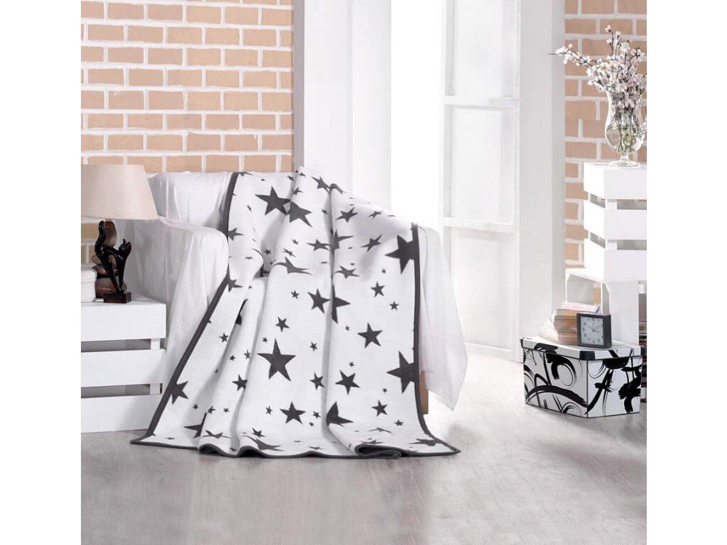 Šedá hviezdičková bavlnená deka New Star - 160x220cm - Matějovský