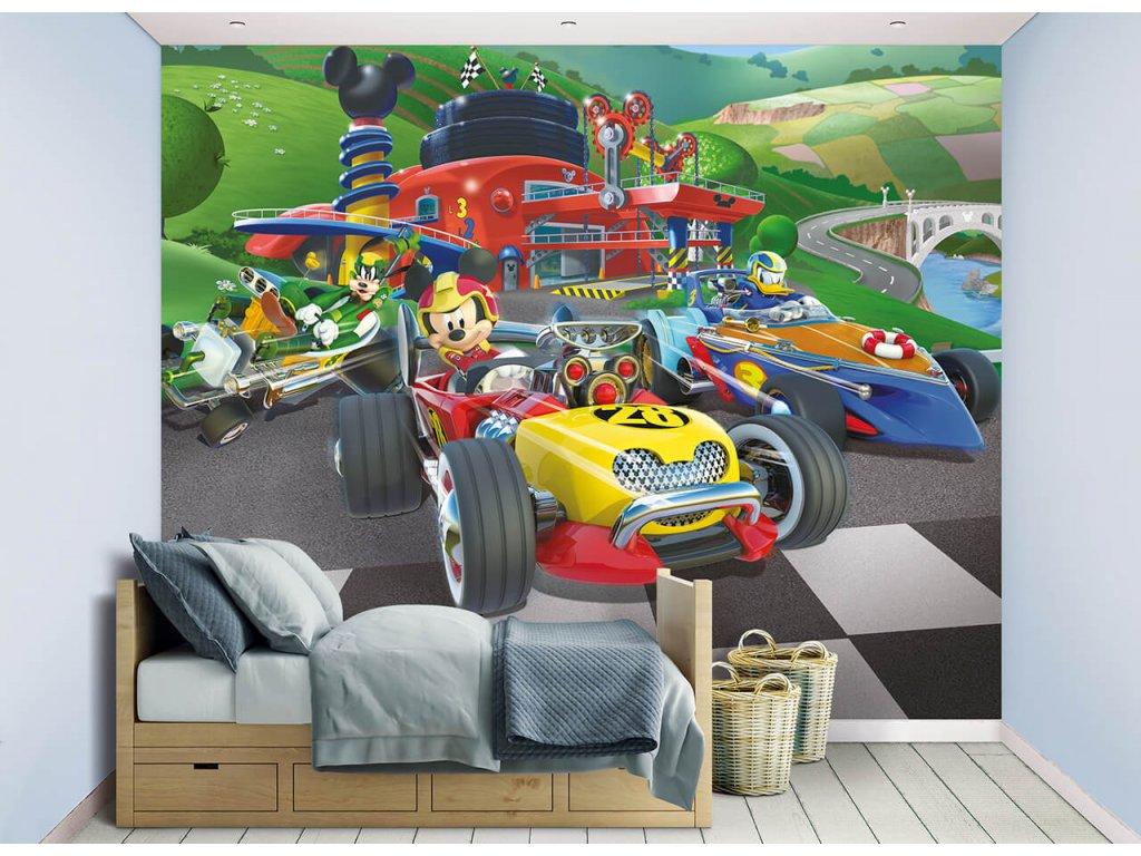 3D tapeta na stenu Pretekár Mickey Mouse - 244x305cm