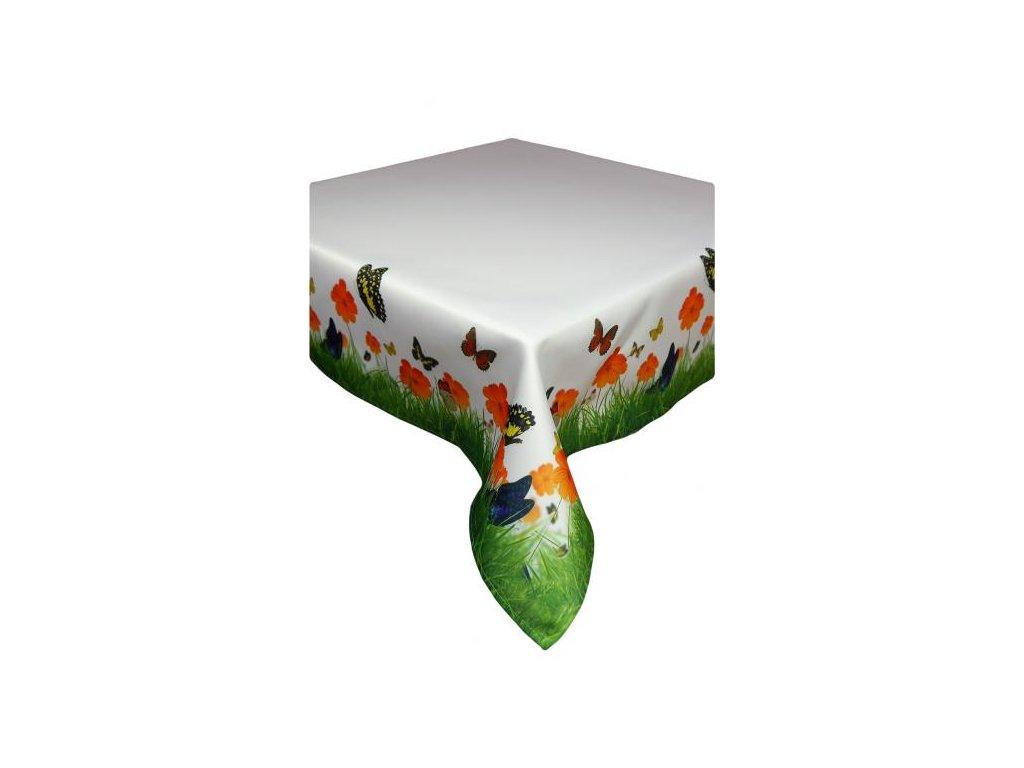 Biely dekoračný obrus s farebnými motýľmi - 85x85cm