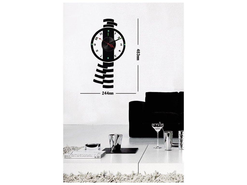 Elegantné čierne nástenné nalepovacie hodiny Decor