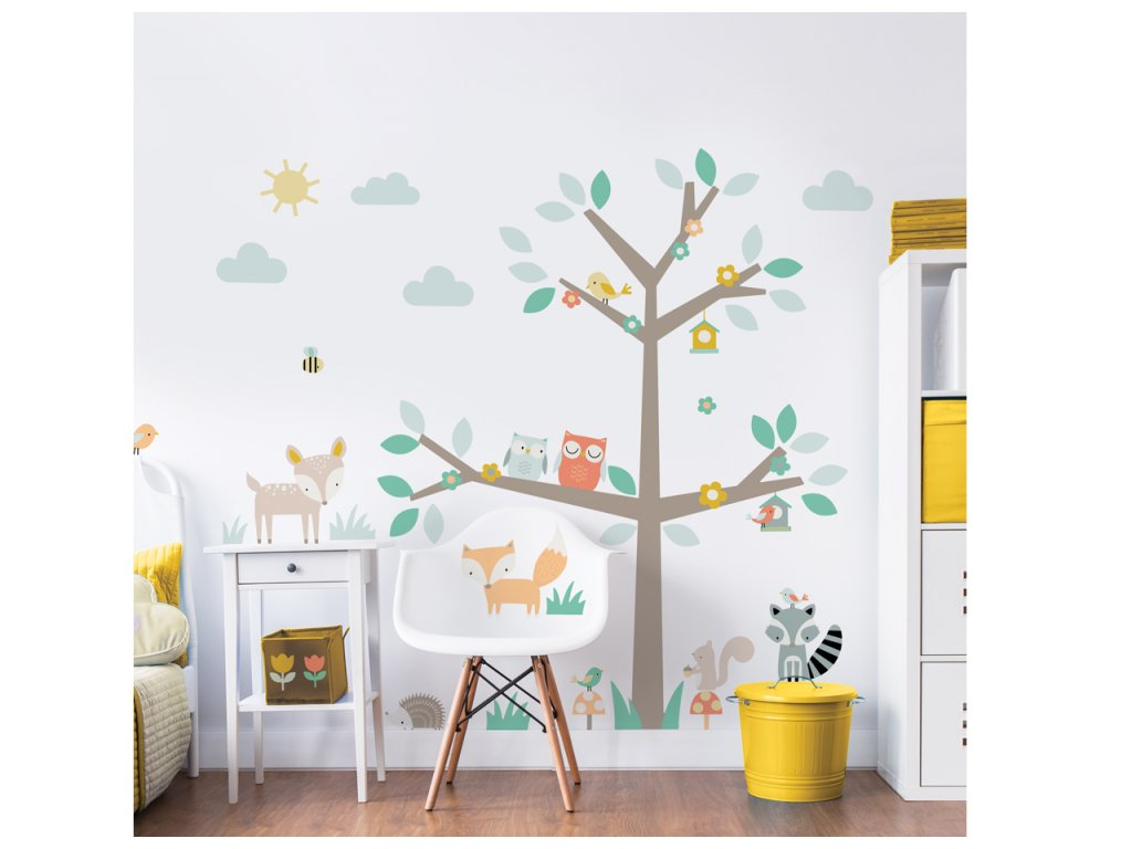 Nálepky na stenu - Woodland Tree & Friends