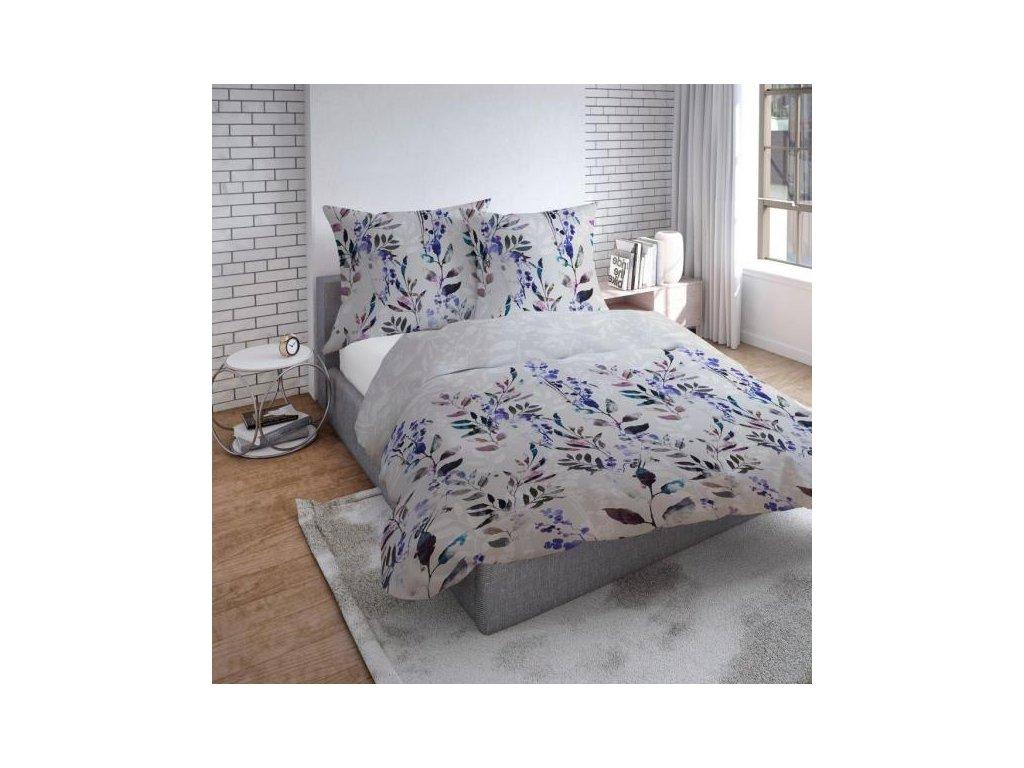 Modré kvetinové obliečky z bavlneného saténu Bill