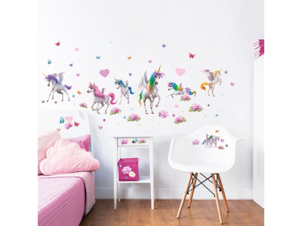 Sada dekoračných samolepiek na stenu - Unicorn