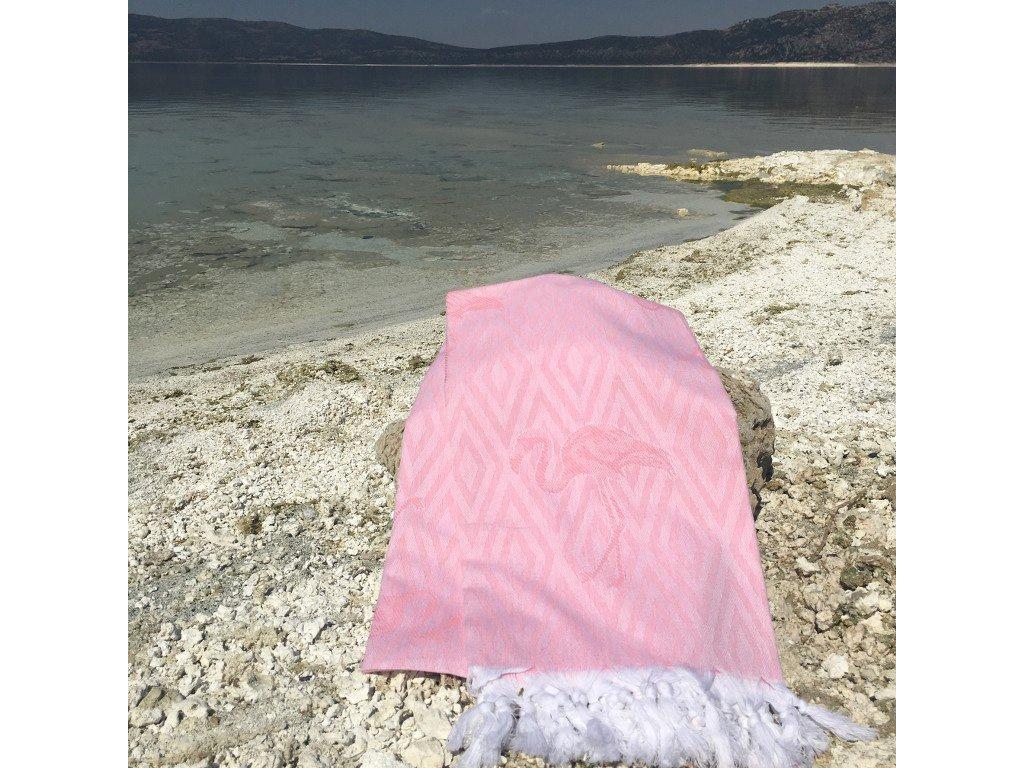 Ľahká rúžová plážová osuška Flamingo - 90x170cm