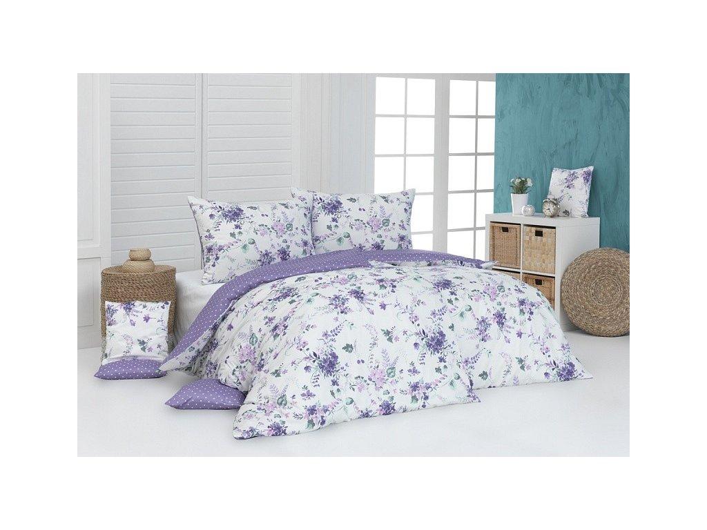 Bavlnené obliečky s fialovými kvetmi Dallia DeLuxe
