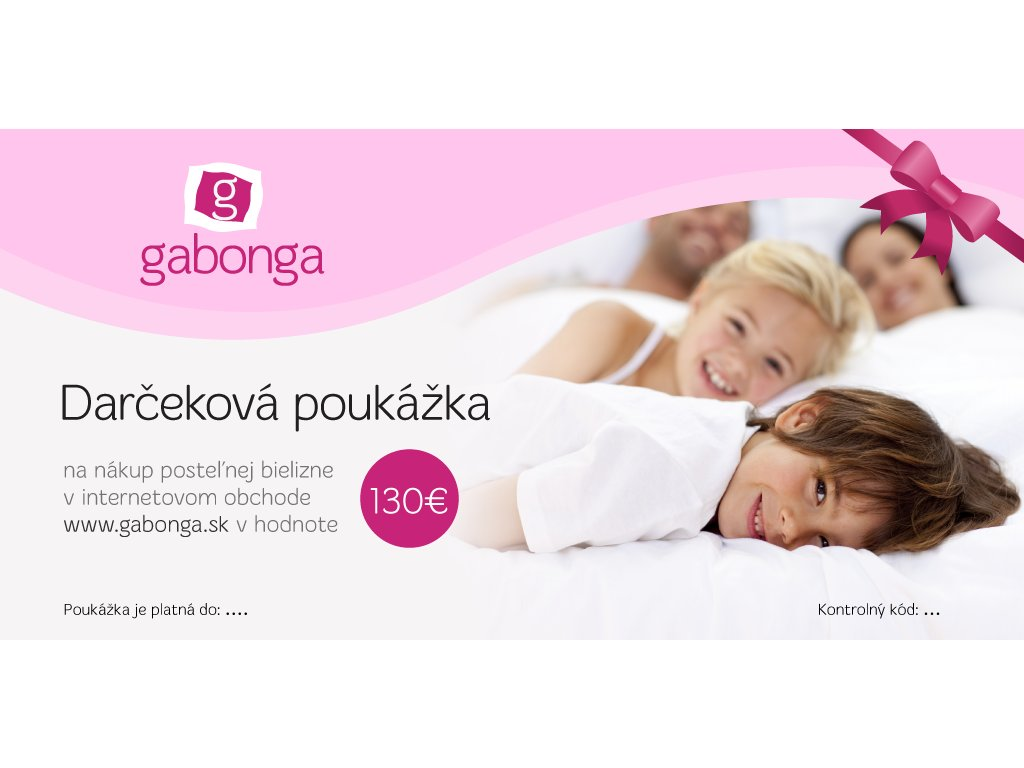 Darčeková poukážka na nákup posteľnej bielizne v hodnote 130 €