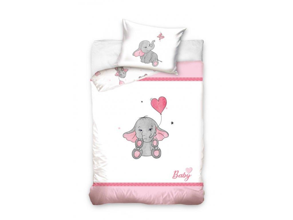 Obliečky do postieľky Sloníča - rúžové