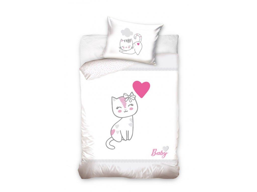 Obliečky do postieľky Mačička - rúžové