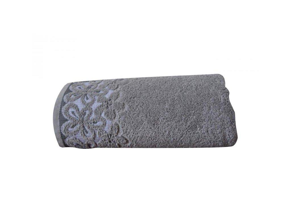 Popoľavý uterák s bordúrou Bella - 50x90cm