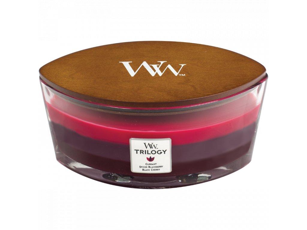 Woodwick sviečka Ellipse  Trilogy- Sun ripened berries