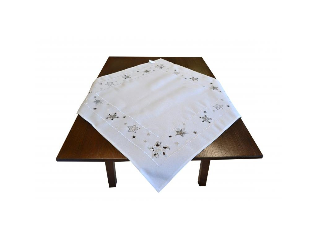 Biely vianočný obrus na stôl s hviezdičkami - 85x85cm