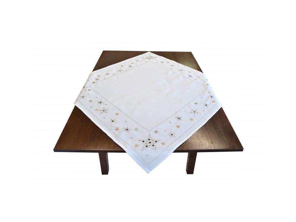 Biely vianočný obrus s hviezdičkami - 85x85cm