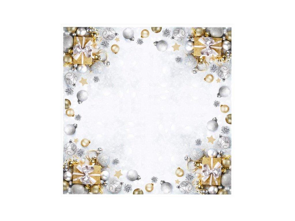 Strieborno-zlatý vianočný obrus na stôl - 85x85cm