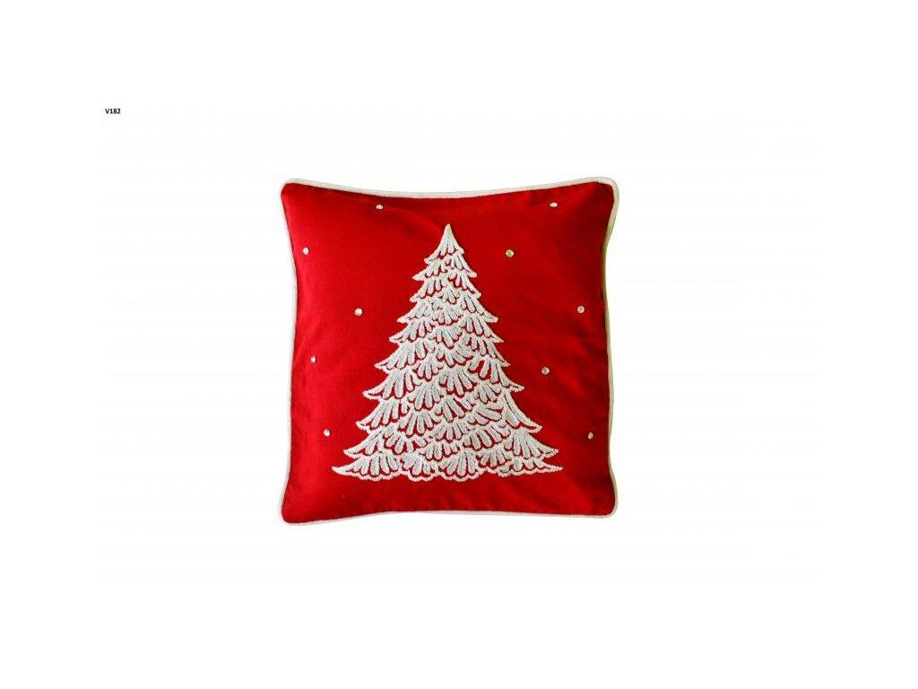 Červená vianočná obliečka so stromčekom - 40x40cm