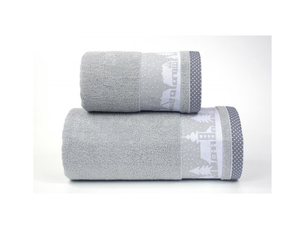 Sivý vianočný uterák Sweet Dreams - 50x90cm