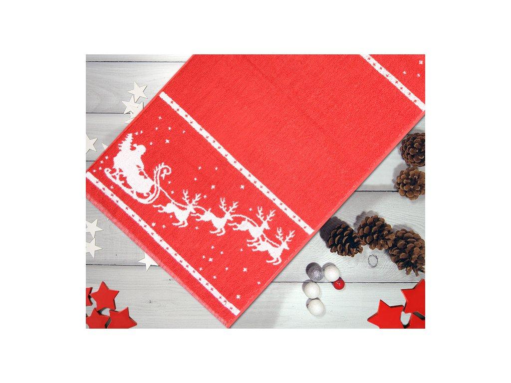 Červený vianočný uterák Charming Christmas - 50x100 cm
